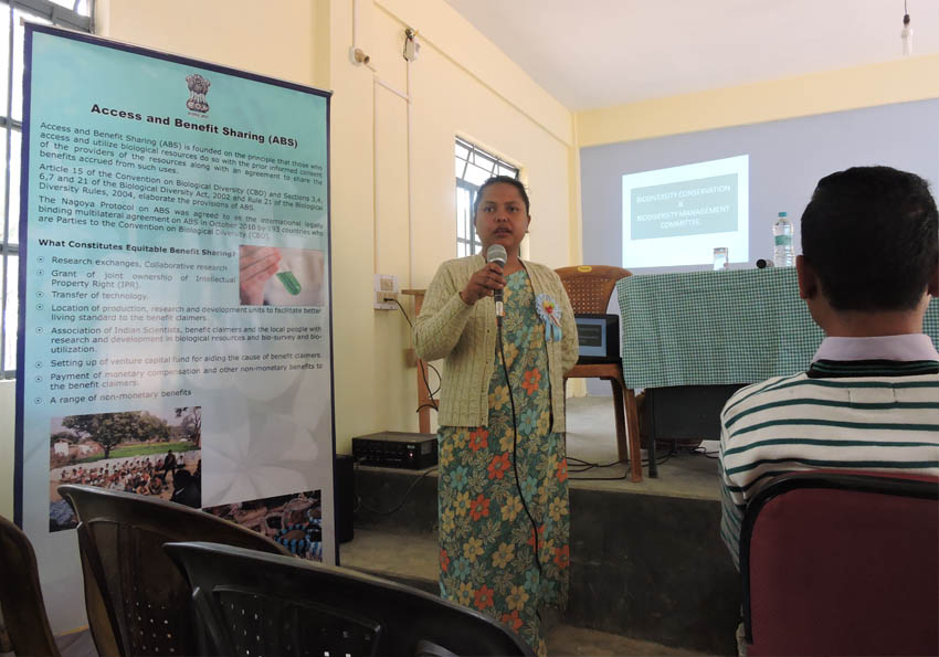 Ms. H. Lato, DFO wildlife, addressing the village elders at the Awareness Programme on BMC