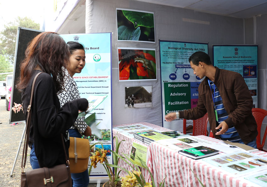 Staff of Meghalaya Biodiversity Board distribute posters, pamplets etc