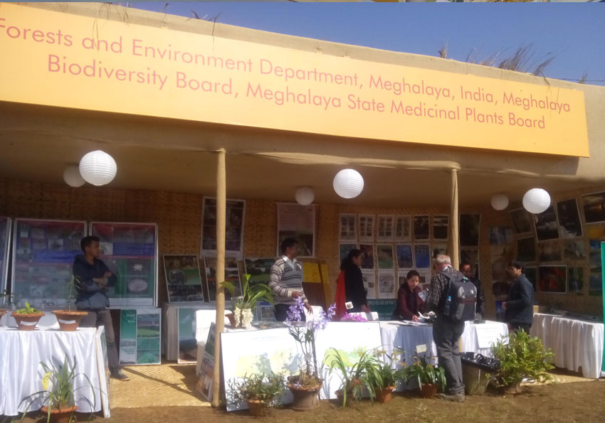 Staff of Meghalaya Biodiversity Board distribute posters, pamplets etc during the programme at Teremandre